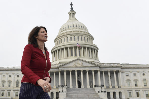 """Illinois Rep. Cheri Bustos, who is running the House Democrats' 2020 campaign operation, tell NPR: """"There couldn't be a clearer differentiation between what we are fighting for and what they are fighting against."""""""