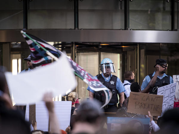 Demonstrators protest over the death of George Floyd in front of Trump Tower in Chicago on May 30.