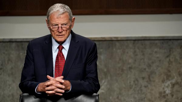 Sen. Jim Inhofe, chairman of the Senate Armed Services Committee, at a May 6 hearing. The Oklahoma Republican's panel has voted to form a commission on removing Confederate names from Army installations.
