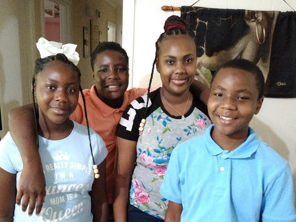Victoria Gray, who underwent a landmark treatment for sickle cell disease last year, has been at home in Forest, Miss., with her three kids, Jadasia Wash (left), Jamarius Wash (second from left) and Jaden Wash.