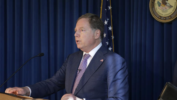 U.S. Attorney for the Southern District of New York Geoffrey Berman speaks to reporters last year about two Florida men associated with President Trump's lawyer Rudy Giuliani and the Ukraine investigation.
