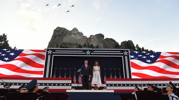 President Trump and first lady Melania Trump arrive for Independence Day events Friday at Mount Rushmore National Memorial in Keystone, S.D.