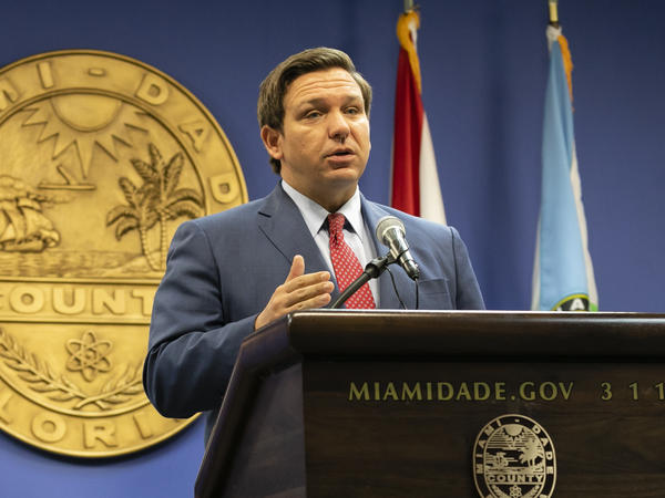 Florida Gov. Ron DeSantis, here in June, said this week that the state's troubled unemployment portal was designed to discourage people applying for benefits. The portal launched in 2013 under then-Gov. Rick Scott, now a U.S. senator.