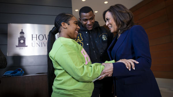 Sen. Kamala Harris visits the Washington, D.C., campus of her alma mater, Howard University, on the day she launched her presidential campaign in January 2019. She's seen speaking to Mara Peoples, executive vice president of the Howard University Student Association, and Amos Jackson III, the executive president.