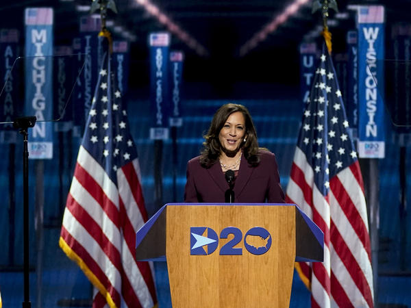 Democratic vice presidential candidate Sen. Kamala Harris, D-Calif., speaks in Wilmington, Del., during Night 3 of the Democratic National Convention. She spoke about her upbringing and her family and her background as a prosecutor.