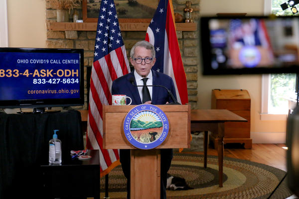 Gov. Mike DeWine gives a coronavirus update from his home on August 20, 2020.