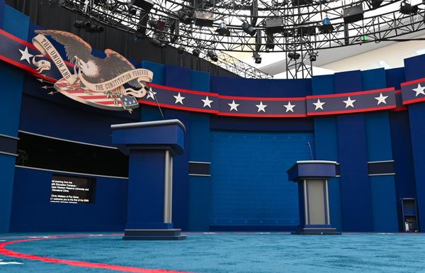 The stage of the first presidential debate, in Cleveland. Tuesday's debate between President Trump and Democratic nominee Joe Biden will be the first of three 90-minute debates between the two.