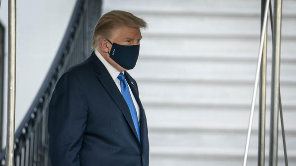 President Trump walks to the South Lawn of the White House before boarding Marine One in Washington, D.C., on Friday. Mary Trump says Donald and Fred Trump viewed getting sick as a sign of weakness.