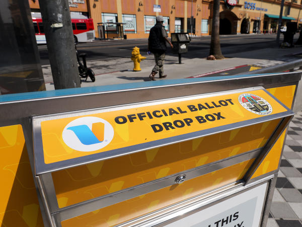 An official mail-in ballot drop box is posted in Los Angeles.