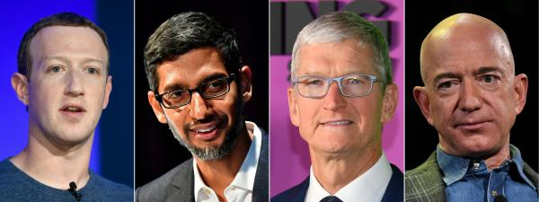 Facebook CEO Mark Zuckerberg (from left), Google CEO Sundar Pichai, Apple CEO Tim Cook and Amazon CEO Jeff Bezos have been in the spotlight over the market power that their giant companies have.