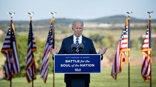 Democratic presidential nominee Joe Biden speaks Tuesday at the Lodges in Gettysburg, Pa.