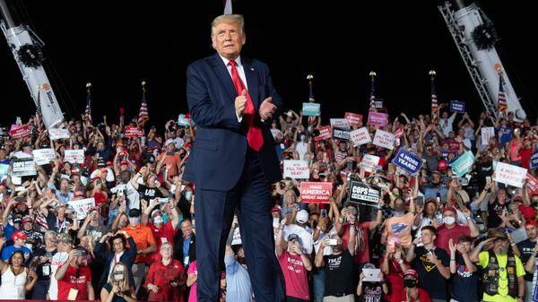 President Trump holds a rally in Sanford, Fla., Monday night, his first trip outside Washington since being released from the hospital.