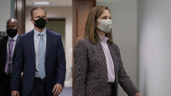 Supreme Court nominee Amy Coney Barrett arrives Wednesday for the third day of her confirmation hearing with the Senate Judiciary Committee.