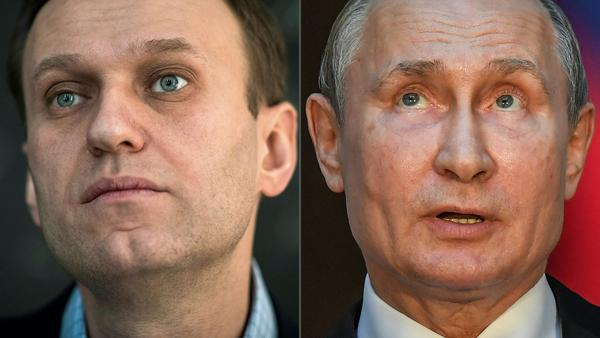 The European Union is placing punitive sanctions on Russian officials with close ties to Russian President Vladimir Putin over the poisoning of opposition leader Alexei Navalny (left).