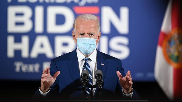 Democratic presidential candidate Joe Biden, pictured in Fort Lauderdale, Fla., on Tuesday, is leading against President Trump in the latest NPR/<em>PBS NewsHour</em>/Marist poll.
