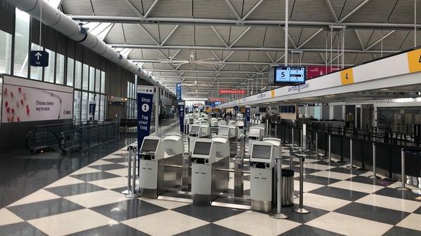 United Airlines' nearly empty terminal at Chicago's O'Hare International Airport in April.