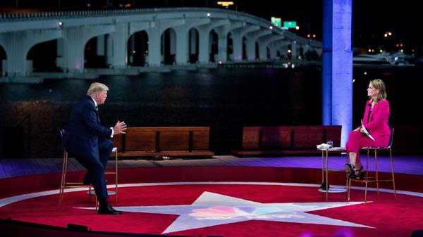 President Trump speaks during an NBC News town hall moderated by Savannah Guthrie at the Perez Art Museum in Miami. At the same time Thursday night, Democratic nominee Joe Biden participated in an ABC News town hall in Philadelphia.