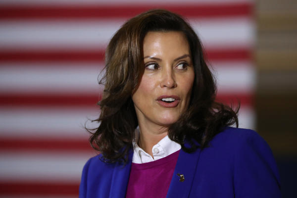 Michigan Gov. Gretchen Whitmer is seen here campaigning for Democratic presidential nominee Joe Biden on Oct. 16.