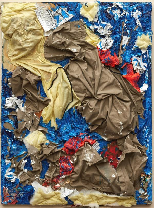 Gilberto Rivera, <em>An Institutional Nightmare</em>, 2012. Federal prison uniform, commissary papers, floor wax, prison reports, newspaper, acrylic paint on canvas.