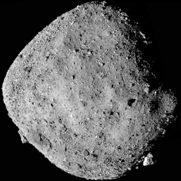 This mosaic image of asteroid Bennu is composed of 12 images collected on Dec. 2, 2018 by the OSIRIS-REx spacecraft from a range of 15 miles.