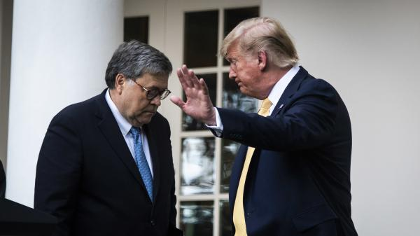 President Trump and U.S. Attorney General William Barr leave after delivering remarks on the 2020 census in the White House Rose Garden in 2019 in Washington, D.C.