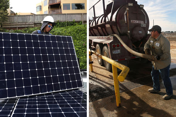 Left: Luminalt employee Pam Quan installs solar panels on the roof of a home in San Francisco in 2018. Right: An oilfield worker fills his truck with water before heading to a drilling site in the Permian Basin oil field in Andrews, Texas, in 2016.
