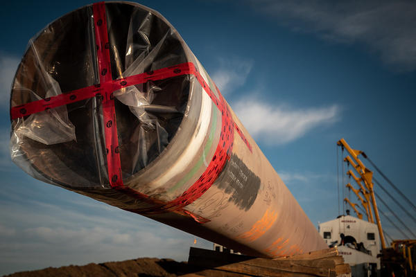 A section of pipe in Alberta, Canada taken on Oct. 07, 2020