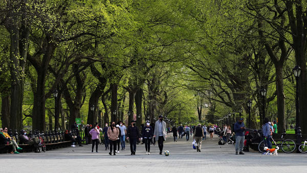 Masked pedestrians enjoy Central Park earlier this year. The New York destination now has a site-specific soundtrack courtesy of composer Ellen Reid's Soundwalk app.