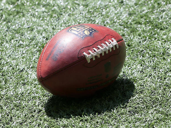 A football lies on the turf prior to the NFL Week 1 game between the Atlanta Falcons and the Seattle Seahawks on September 13, 2020.