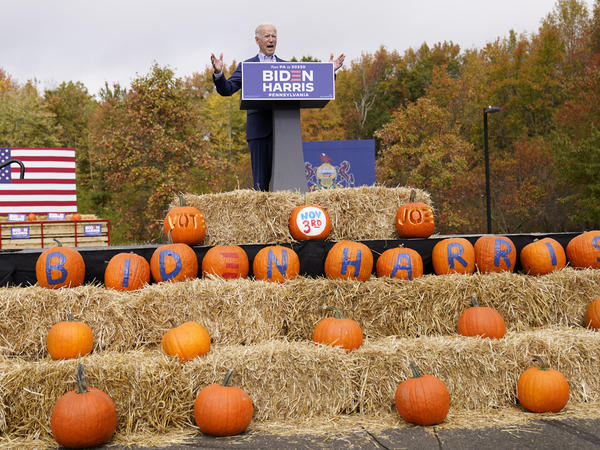 Democratic presidential nominee Joe Biden speaks at a campaign stop in Bristol, Pa. Appearances by him and his surrogates follow social distancing guidelines.
