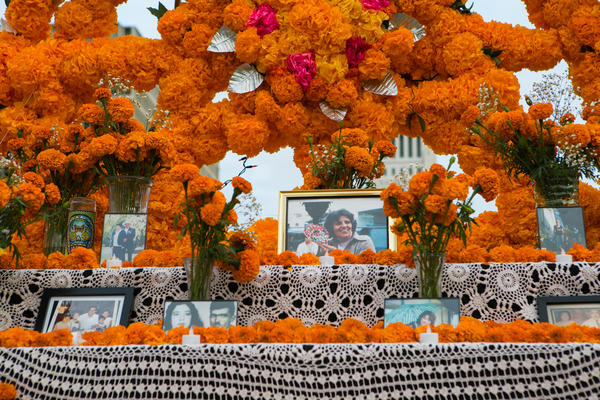 """<em>Altarista </em>Ofelia Esparza says it's been """"a nightmare year"""" of loss for her family. Above, framed photographs of loved ones lost at her community altar in Grand Park."""