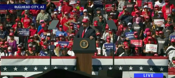 President Trump is still vying for Nevada votes across state lines. He addressed supporters in Bullhead City, Arizona, at a time of increased COVID-19 infection throughout the region.