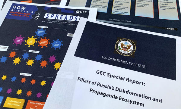 "A State Department report on Russian online operations to promote conspiracy theories and misinformation. Some analysts also warn of ""perception hacks,"" when relatively small-scale hacks are uncovered and then widely discussed by government officials, news organizations and on social media."