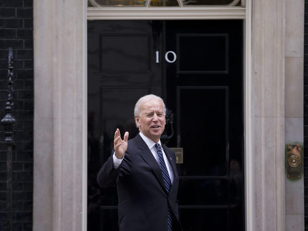 Joe Biden arrives at No. 10 Downing St. in London, the residence and office of Britain's prime minister, while serving as vice president in 2013.