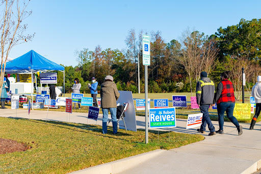 Voters heading in to the Agriculture Center in Pittsboro to cast their ballots.