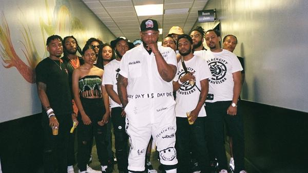 The BlackSon, center, photographed with several members of the BlackCity, Funky Tenn collective.