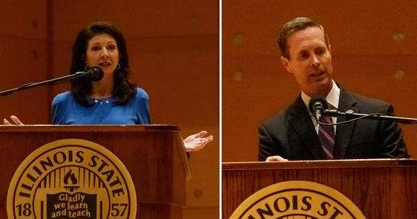 U.S. Rep. Rodney Davis, R-Taylorville, with his Democratic challenger, Betsy Dirksen Londrigan of Springfield, at WGLT's debate on Tuesday, Oct. 13, 2020, in Normal.