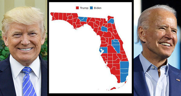 Map of the counties won by President Trump and Joe Biden