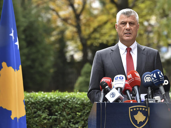 Kosovo President Hashim Thaci announces his resignation Thursday in the Kosovo capital of Pristina. He said he was stepping down to face war crimes charges in The Hague.