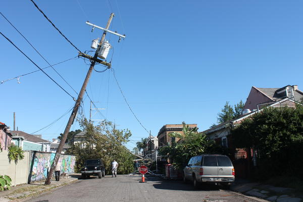 Hurricane Zeta knocked over a tree and tilted a power line pole on Franklin Avenue in the Marigny. Oct. 29, 2020.