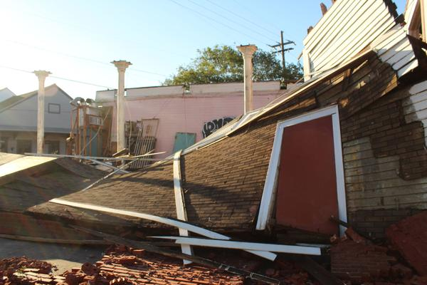 A building at the corner of Dauphine Street and Franklin Avenue was flattened during Hurricane Zeta. Oct. 29, 2020.