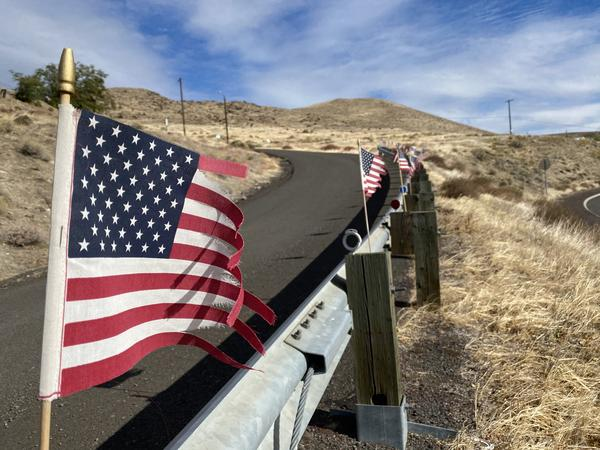 Tattered American flags wave in the strong wind of the Columbia River Gorge National Scenic Area on October 27, 2020.