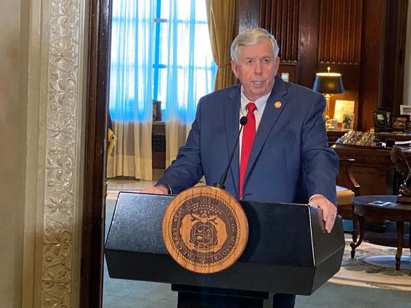 Gov. Mike Parson speaks with reporters on Nov. 5, 2020, at the state capitol in Jefferson City.