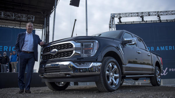 Bill Ford, executive chairman of Ford Motor Co., with the 2021 Ford F-150 King Ranch truck in September in Dearborn, Mich. Strong demand for high-margin vehicles such as pickups has propelled Ford and its rivals to remarkably strong earnings this past quarter.