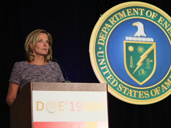 Lisa Gordon-Hagerty of the National Nuclear Security Administration discusses global nuclear threats in Albuquerque, N.M., in 2019. She was removed from her post in an abrupt round of departures at three agencies.
