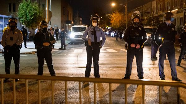 Police line up in Philadelphia on Oct. 28 following two nights of protesting and unrest after the fatal shooting of Walter Wallace Jr. by police. Philadelphia was among the cities approving oversight measures.