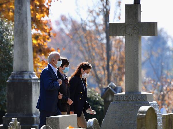 President-elect Joe Biden arrives at St. Joseph on the Brandywine Roman Catholic church in Greenville, Del., on Sunday.
