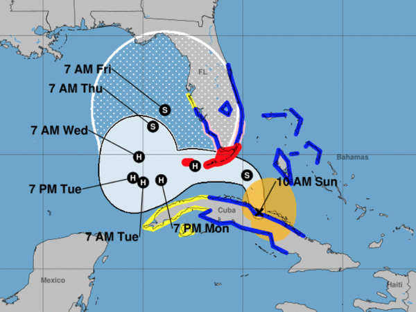 Tropical Storm Eta will brush the southern coast of Florida on Sunday before regrouping in the Gulf of Mexico and heading back toward the state.