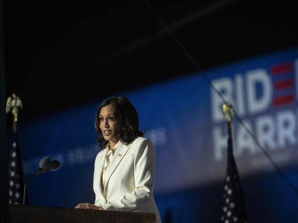 Vice President-elect Kamala Harris delivers an address to the nation from Wilmington, Del., on Saturday. Harris will not only be the first Black, and first female, vice president. She's also the first Indian American and the first Asian American elected to the office.