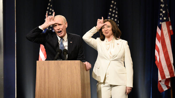 Jim Carrey as Joe Biden and Maya Rudolph as Kamala Harris on <em>Saturday Night Live</em> on Saturday.